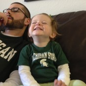 "Ellen says, ""Go Green!"" even when we lose. Spartans for life."