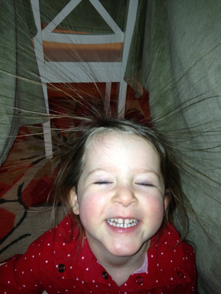 learning all about static electricity...or just building a fort