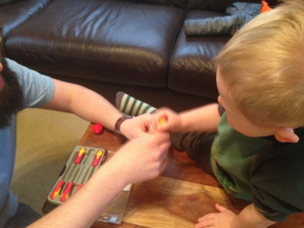 helping dad with sharp tools: how we do