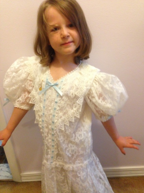 trying on my First Communion dress